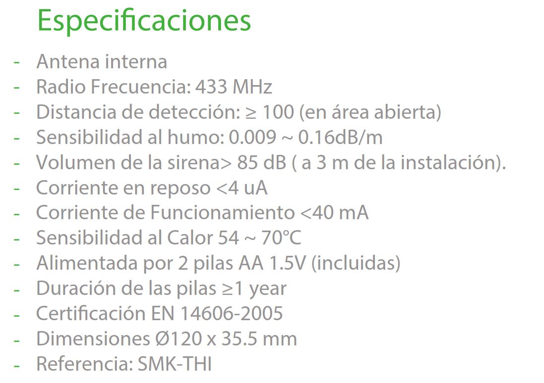 Especificaciones SMK-THI