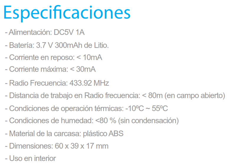 Especificaciones RT-101