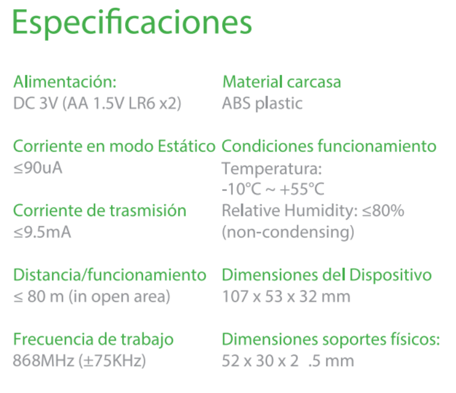 Especificaciones PIR-THI