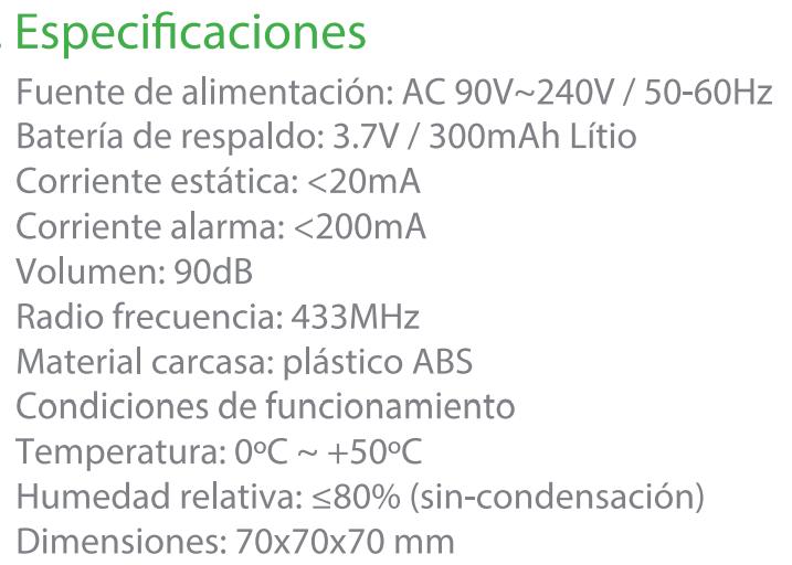 Especificaciones WS-THI